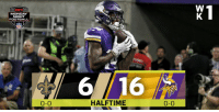 The @Vikings lead by 10 at the half! #SKOL #NOvsMIN https://t.co/EqA7y21rVe: MONDAY  NIGHT  FOOTBALL  6  16  0-0  HALFTIME  0-0 The @Vikings lead by 10 at the half! #SKOL #NOvsMIN https://t.co/EqA7y21rVe