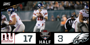 HALF:  #GiantsPride: 17 #FlyEaglesFly: 3  📺: #NYGvsPHI on ESPN 📱: NFL app // Yahoo Sports app Watch free on mobile: https://t.co/pVSr1nH8o4 https://t.co/2kpUxwT9WY: MONDAY  NIGHT  FOOTBALL  ny 17  NFL  HALF HALF:  #GiantsPride: 17 #FlyEaglesFly: 3  📺: #NYGvsPHI on ESPN 📱: NFL app // Yahoo Sports app Watch free on mobile: https://t.co/pVSr1nH8o4 https://t.co/2kpUxwT9WY
