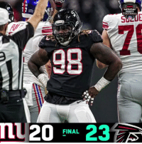 FINAL: The @AtlantaFalcons get the WIN on #MNF! #NYGvsATL  #InBrotherhood  (by @Lexus) https://t.co/DN9NSmW4BX: MONDAY  NIGHT  FOOTBALL  SLE  90  20-23  FINAL FINAL: The @AtlantaFalcons get the WIN on #MNF! #NYGvsATL  #InBrotherhood  (by @Lexus) https://t.co/DN9NSmW4BX