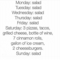 Friday, Wine, and Ice Cream: Monday: salad  Tuesday: salad  Wednesday: salad  Thursday: salad  Friday: salad  Saturday: 3 pizzas, tacos,  grilled cheese, bottle of wine,  7 cinnamon rolls,  gallon of ice cream  2 cheeseburgers  Sunday: salad Is butter a carb?
