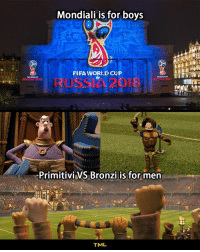 "Fifa, Memes, and Space: Mondiali is for bovs  FIFA WORID CUP  Primitivi VS Bronzi is for men  TML Oggi è uscito al cinema ""I Primitivi"", praticamente lo Space Jam del calcio. E i russi muti. tmlplanet film iprimitivi calcio cinema sport"