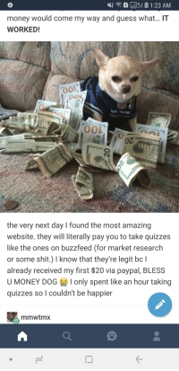 Money Dog: money would come my way and guess what... IT  WORKED!  0  the very next day I found the most amazing  website. they will literally pay you to take quizzes  like the ones on buzzfeed (for market research  or some shit.) I know that they're legit bc l  already received my first $20 via paypal, BLESS  U MONEY DOG I only spent like an hour taking  quizzes so I couldn't be happier  mmwtmx