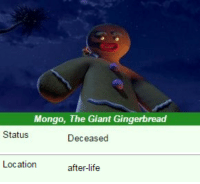 Life, Giant, and after.life: Mongo, The Giant Gingerbread  Status  Deceased   Location  after-life
