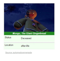 Life, Memes, and Giant: Mongo, The Giant Gingerbread  Status  Deceased  Location  after-life  Source: automodownremade May we offer up a prayer for our silent heroes. May they Rest In Peace