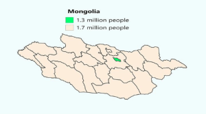 Dank, Http, and Live: Mongolia  1.3 million people  1.7 million people Close to half of #Mongolia's population live in the green Source: http://ow.ly/zqRT30obX8M