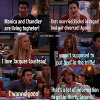 I loved this episode😂😂❤️ phoebebuffay chandlerbing monicageller rossgeller joeytribianni rachelgreen friendstvshow: Monica and Chandler Ross married Rachel in Vegas!  are living togheter!  And got divorced! Again!  IG FRIENDS 1994.  I wasn't supposed to  I love Jacques Cousteau!  put beef in the trifle!  T That's a lot ofinformation  Iwanna go00h  togetin thirty  Seconds I loved this episode😂😂❤️ phoebebuffay chandlerbing monicageller rossgeller joeytribianni rachelgreen friendstvshow
