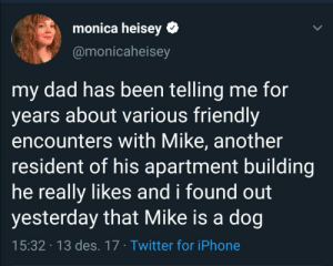 In my eyes Mike is just as good as a human: monica heisey  @monicaheisey  my dad has been telling me for  years about various friendly  encounters with Mike, another  resident of his apartment building  he really likes and i found out  yesterday that Mike is a dog  15:32 13 des. 17 Twitter for iPhone In my eyes Mike is just as good as a human