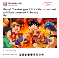 Blackpeopletwitter, Avengers, and History: Monkey D. Luffy  @RubberNigga  Follow  Marvel: The Avengers Infinity War is the most  ambitious crossover in history.  Me:  1コラポスペジヤN>//  5:17 PM-1 Apr 2018  52 Retweets 122 Likes <p>&ldquo;Infinity War is the most ambitious crossover event in history!&rdquo; (via /r/BlackPeopleTwitter)</p>