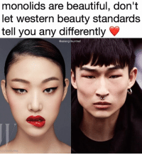 Memes, Western, and Beauty Standards: monolids are beautiful, don't  let western beauty standards  tell you any differently  @asiangirlsunited  wik area con forgot to post this earlier edit: i tagged the guy ok