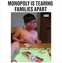 Memes, Monopoly, and Bible: MONOPOLY IS TEARING  FAMILIES APART  LAD  BIBLE Board games are dangerous 😂😂