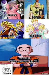 Android, Memes, and 🤖: Monsters  Androids  Half Aliens  Aliens  Technically)  The Strongest Man inthe World  VIA9GAG.COM lol 😂