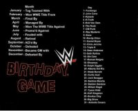 www.youtube.com/londonhawthorne: Month  January -Tag Teamed With  February Won WWE Title From  March  Fired By  April  Managed By  May  Won The WWE Title Against  June  Promo d Against  July  Feuded with  August  Retired  September. KO'd By  October  Defeated  November. Became GM with  December-Defeated By  BIRTHDAY  Day  1-Fandango  2 John Cena  3 -Ryback  4 -R-Truth  5 Rob Van Dam  6 The Rock  7 CM Punk  8-Rey Mysterio  9-Kane  10 Randy Orton  11-Daniel Bryan  12-Chris Jericho  13 Triple H  14 Dean Ambrose  15 Seth Rollins  16 Sin Cara  17-Roman Reigns  18.Sheamus  19-Dolph Ziggler  20-Alberto Del Rio  21 Wade Barrett  22 Curtis Axel  23-Jack Swagger  24-Santino Marella  25-Damien Sandow  26 Wiliam Regal  27-Tyson Kidd  28-Kofi Kingston  29-Brodus Clay  30-Big Show  31 Antonio Cesaro www.youtube.com/londonhawthorne