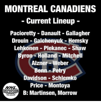 Looking at the Montreal Canadiens current lineup brings up a ton of question marks. Aside from Carey Price, this team is no where near a Stanley Cup Contender, and perhaps they aren't even a playoff team. Perhaps not even a playoff team with Price on top of his game. Despite acquiring Drouin, their offence looks depleted after losing Radulov. Should someone in their top six get injured (don't bet against Gallagher...), that would bring Andrew Shaw into the top six. This team will not be able to score. Their centermen are still unimproved. How can you make the playoffs with Phillip Danault as your number one center!?! Radulov won't be able to pick up that top line as he did last year, so Phillip's weaknesses will no longer be sheltered. And then there's their defence. OH... Their defense... They are slow. They are sluggish. They are old. They are defensive minded, which will help take some of the pressure off Price, but won't help kick start offence. It's pretty obvious this team does not look very good on paper. Luckily the Canadiens still have $14 Million in cap space to shore up some holes, but why hasn't that been done yet...? HAS THE MONTREAL CANADIENS STANLEY CUP WINDOW CLOSED? Canadiens Montreal NHLDiscussion: MONTREAL CANADIENS  Current Lineup  Pacioretty - Danault - Gallagher  Drouin - Galchenyuk - Hemsky  Lehkonen Plekanec - Shaw  Byron- Holland - Mitchell  Alzner - Weber  Benn-Petry  Davidson - Schlemko  Price - Montoya  B: Martinsen, Morrow  OISCUSSION  NHLDISCUSSION Looking at the Montreal Canadiens current lineup brings up a ton of question marks. Aside from Carey Price, this team is no where near a Stanley Cup Contender, and perhaps they aren't even a playoff team. Perhaps not even a playoff team with Price on top of his game. Despite acquiring Drouin, their offence looks depleted after losing Radulov. Should someone in their top six get injured (don't bet against Gallagher...), that would bring Andrew Shaw into the top six. This team will not be able 