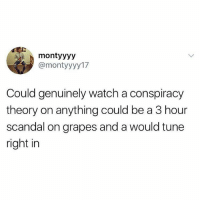 Don't follow @drgrayfang if you're easily offended: montyyyy  @montyyyy17  Could genuinely watch a conspiracy  theory on anything could be a 3 hour  scandal on grapes and a would tune  right in Don't follow @drgrayfang if you're easily offended