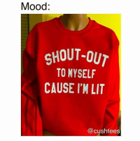 Memes, 🤖, and Com: Mood:  SHOUT OUT  TO MYSELF  CAUSE I'M LIT  (a cushtees For funny sweatshirts and more follow @cushtees 😍😍 and check out their website www.cushtees.com @cushtees 😂 @cushtees 😩 @cushtees 😍