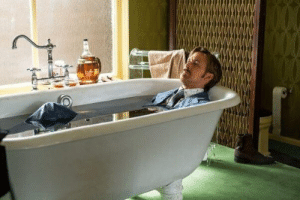 The Nice Guys. March wakes up in the bath and falls asleep smoking in the pool. This is because Ryan Gosling refused to leave water during filming, as he is forever cursed to captain The Flying Dutchman and may only set foot on land once every 10 years. Each scene on land was filmed in a single day.: MOOKE The Nice Guys. March wakes up in the bath and falls asleep smoking in the pool. This is because Ryan Gosling refused to leave water during filming, as he is forever cursed to captain The Flying Dutchman and may only set foot on land once every 10 years. Each scene on land was filmed in a single day.