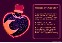 Target, Tumblr, and Alarm: Moonlight Glitter  guarantees that  the next time you  go stargazing the  sky will be clear  star1it flowers  *might cause you  to sleep through  ouiowang morning  alarm the  following morning  bobacupcake bobacupcake:some potions!!   ☆〜(ゝ。∂)