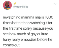 Mamma Mia: @moonlillies  rewatching mamma mia is 1000  times better than watching it for  the first time solely because you  see how much of gay culture  harry really embodies before he  comes out