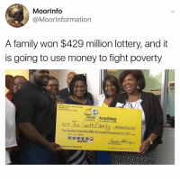 Community, Family, and Lottery: Moor Info  @Moor Information  A family won $429 million lottery, and it  is going to use money to fight poverty  Anything  The Smith hamily .4296ooooo Go Follow @nefertiti_community