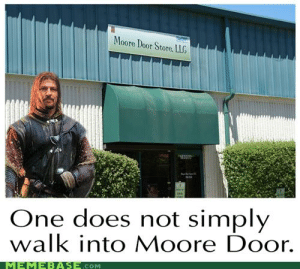 One Does Not Simply Walk: Moore Door Store. LLG  One does not simply  walk into Moore Door.