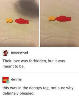 Another dennys post: moosey-art  Their love was forbidden, but it was  meant to be.  dennys  this was in the dennys tag. not sure why.  definitely pleased. Another dennys post