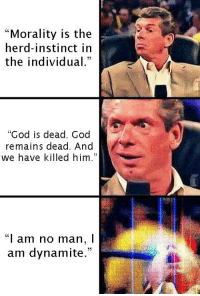 """Memes, God Is Dead, and Individualism: """"Morality is the  herd-instinct in  the individual.""""  """"God is dead. God  remains dead. And  we have killed him.""""  """"I am no man, I  am dynamite."""""""