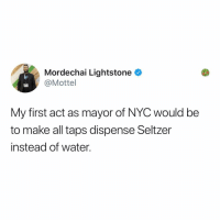 Follow @kalesaladny for New York memes: Mordechai Lightstone  @Mottel  My first act as mayor of NYC would be  to make all taps dispense Seltzer  instead of water. Follow @kalesaladny for New York memes