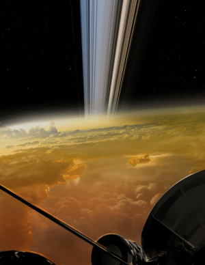 (more accurate repost) Artist rendition of Saturn's clouds and rings as might be seen from NASA's Cassini probe: (more accurate repost) Artist rendition of Saturn's clouds and rings as might be seen from NASA's Cassini probe