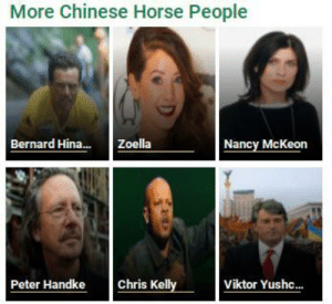 What the actual fuck, I found this while on a site with like a billion ads: More Chinese Horse People  Bernard Hina..  Nancy McKeon  Zoella  Chris Kelly  Peter Handke  Viktor Yushc... What the actual fuck, I found this while on a site with like a billion ads