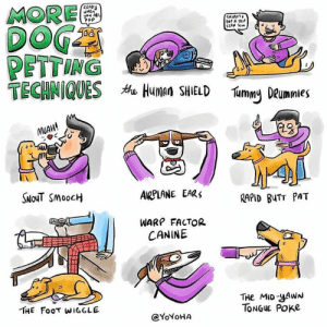 Butt, Memes, and Pop: MORE  DOG  PETTING  TECHNIQUESAHuman SHIELD  READY  HEn  you As  PoP  SKitAT  Bof A SE  SCAP S  Tummy DRummles  MUAH!  SNOUT SMOOCH  AIRPLANE EARS  RAPID BUTT PAT  WARP FACTOR  CANINE  THe MID-YAWN  TONGUE POKe  THE FOOT WIGGLE  @YOYOHA Mid yawn tongue poker.