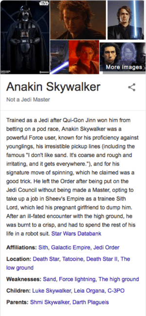 """Anakin Skywalker, Children, and Death Star: More images  Seem  Anakin Skywalker  Not a Jedi Master  Trained as a Jedi after Qui-Gon Jinn won him from  betting on a pod race, Anakin Skywalker was a  powerful Force user, known for his proficiency against  younglings, his irresistible pickup lines (including the  famous """"I don't like sand. It's coarse and rough and  irritating, and it gets everywhere.""""), and for his  signature move of spinning, which he claimed was a  good trick. He left the Order after being put on the  Jedi Council without being made a Master, opting to  take up a job in Sheev's Empire as a trainee Sith  Lord, which led his pregnant girlfriend to dump him.  After an ill-fated encounter with the high ground, he  was burnt to a crisp, and had to spend the rest of his  life in a robot suit. Star Wars Databank  Affiliations: Sith, Galactic Empire, Jedi Order  Location: Death Star, Tatooine, Death Star II, The  low ground  Weaknesses: Sand, Force lightning, The high ground  Children: Luke Skywalker, Leia Organa, C-3PO  Parents: Shmi Skywalker, Darth Plagueis You're in these search results, but we do not grant you the rank of infobox."""