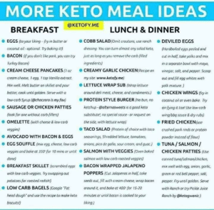 Baked, Google, and Head: MORE KETO MEAL IDEAS  LUNCH & DINNER  BREAKFAST@KETOFY.ME  COBB SALAD(Omit croutons, use ranch  EGGS (to your liking--fry in butter or  DEVILED EGGS  coconut oil optional Try baking itt)  BACON (f you don't like pork you can try  dressing You can turn almost any salad keto,  Hardboiled eggs peeled and  just os long as you remove the carb-filed  cut in holf, take yolks and mix  Turkey Bacon)  ingredients)  in a separate bowl with mayo,  CREAMY GARLIC CHICKEN(Recipe on  vinegar, salt, and pepper. Scoop  CREAM CHEESE PANCAKES (1 o  creom cheese, 1 egg. 1 esp Vanila extract  my site www.ketofy.me)  out and fill egg whites with  LETTUCE WRAP SUB (Wap lettuce  Mix well Melt butter on skillet and pour  yolk mixture.)  batter, cook until golden. Serve with a  around deli meat, cheese, and condiments)  CHICKEN WINGS (fry in  PROTEIN STYLE BURGER (No bun no  etchup @alternasweets is a good keto  substitute, no special sauce-or request on  the side,with lettuce wrap)  low-carb Syrup (@choczero is my fav)  coconut oil or oven bake.  Try  air fying it tool Use low carb  SAUSAGE OR CHICKEN PATTIES  (look for one without carb-fillers)  wing/bbq sauce&dry rubs)  OMELETTE (with cheese & low carb  FRIED CHICKEN(use  TACO SALAD (Protein of choice with taco  veggies)  crushed pork rinds or protein  powder instead of flour)  TUNA/SALMON/  AVOCADO WITH BACON & EGGS  seasonings, Shredded lettuce, tomatoes,  EGG SOUFFLE (mix egg, cheese, tow carb  onions, pico de gallo, sour.cream, and guac)  veggies and bake at 350 for 10 mins or until  SALMON WITH VEGGIES (Oven baked  CHICKEN PATTIES (Use  done)  salmon with low carb roasted veggies)  cannied tund/salmon/chicken,  BACON WRAPPED JALAPENO  POPPERS(Cut Jalapenos in half, take  BREAKFAST SKILLET (scrambled eggs  mix well with egg, onion, garlic  with low carb veggies. Try swapping out  green or red bell pepper, solt,  seeds out,fill with cream cheese, wrap bacon  potatoes for roasted radish)  pepper. Fry until golden