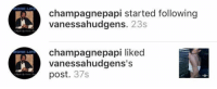 Drake is quick 😭😂 https://t.co/hmhi252SGL: MORE LIFE  MORE LIFE  champagnepapi started following  vanessahudgens  23s  champagne papi liked  vanessahudgens's  post  37s Drake is quick 😭😂 https://t.co/hmhi252SGL
