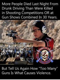 "Driving, Drunk, and Guns: More People Died Last Night From  Drunk Driving Than Were Killed  in Shooting Competitions OR at  Gun Shows Combined In 30 Years.  But Tell Us Again How ""Too Many""  Guns Is What Causes Violence. Anyone want to explain how this works? Why aren't all these guns kill people? Anyone? Anyone at all? Hello? Cold Dead Hands"