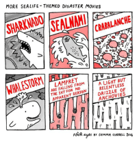 sharknado: MORE SEALIFE THEMED DISASTER MOVIES  SHARKNADO  SAI  CRABALANCHE  WHALESTORM/  LAMPREY  ARE FALLING FROM 1  THE SKY FOR NO  A LIGHT BUT  RELENTLESS  DRIZZLE OF  EANCHOVIES  APPARENT REASON  FoUR yes r GEMMA coRRELL 2ou