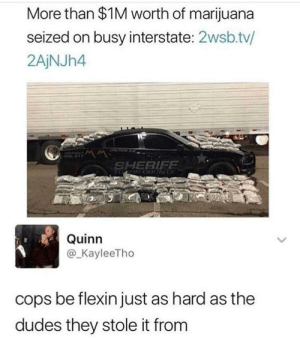 Dank, Memes, and Target: More than $1M worth of marijuana  seized on busy interstate: 2wsb.tv/  2AjNJh4  SHERIFF  Quinn  @_KayleeTho  cops be flexin just as hard as the  dudes they stole it from They had to stunt on the other cops real quick. by iamprofoundbandit FOLLOW HERE 4 MORE MEMES.