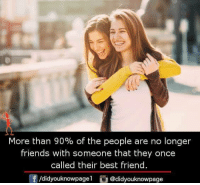 Best Friend, Friends, and Memes: More than 90% of the people are no longer  friends with someone that they once  called their best friend.  f/didyouknowpagel@didyouknowpage