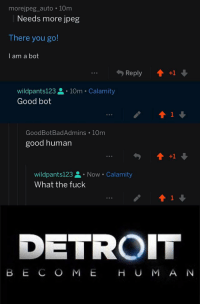there you go: morejpeg_auto 10m  Needs more jpeg  There you go!  I am a bot  wildpants123. 10m Calamity  Good bot  GoodBotBadAdmins 10m  good human  wildpants123 Now Calamity  What the fuck  1  DETROIT  B E C O M E H U M A N