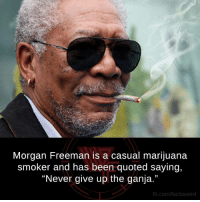 "Morgan Freeman: Morgan Freeman is a casual marijuana  smoker and has been quoted saying,  ""Never give up the ganja.""  fb.com/facts Weird"