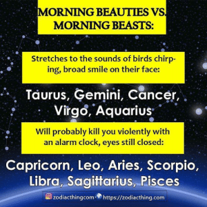Gemini: MORNING BEAUTIES VS  MORNING BEASTS:  Stretches to the sounds of birds chirp-  ing, broad smile on their face:  Taurus, Gemini, Cancer,  Virgo, Aquarius  Will probably kill you violently with  an alarm clock, eyes still closed:  Capricorn, Leo, Aries, Scorpio,  Libra, Sagittarius, Pisces  zodiacthingcomhttps://zodiacthing.com