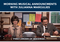 "Food, Gif, and Target: MORNING MUSICAL ANNOUNCMENTS  WITH JULIANNA MARGULIES   FA ONTONIGH  SUCCESS  FOOD DRIVE  FOOD DRVE  FIRST ORDER OF BEESWAX  PRINCIPAL <p>Who said morning announcements had to be boring? <a href=""https://www.youtube.com/watch?v=K4R17EQs2dI"" target=""_blank"">They should be catchy! </a><img alt="""" src=""https://78.media.tumblr.com/e47073bae6948832f15bea50e8e89881/tumblr_nc0kprmPha1qhub34o1_500.gif""/><img alt="""" src=""https://78.media.tumblr.com/93ee37413d9bada7021176b80317c87c/tumblr_nc0kprmPha1qhub34o2_r1_500.gif""/><img alt="""" src=""https://78.media.tumblr.com/f773686f2473b3a57e6187887285c22d/tumblr_nc0kprmPha1qhub34o3_r1_500.gif""/></p>"