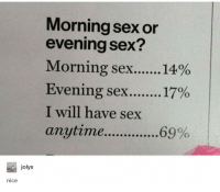 "Memes, Sex, and Nice: Morning sex or  evening sex?  Morning sex 1400  Evening sex 17%  I will have sex  anytime....6  9%  jolys  nice <p>Very very nice via /r/memes <a href=""https://ift.tt/2HA5m0f"">https://ift.tt/2HA5m0f</a></p>"