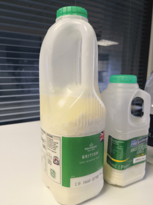My name is Kevin and there was some chunky lemon milk in our office fridge this morning!: Morrisons  Since 18959  BRITISH  SEMI SKIMMED M  FRESHWA  Use by  l Pint My name is Kevin and there was some chunky lemon milk in our office fridge this morning!