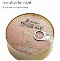 Memes, Mortal Kombat, and Translate: [mortal kombat voice]  Translate from Haitian Creole  FINNISH HAM  18a g