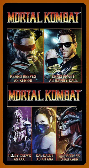 digitalmodz:  if only 3: MORTAL KUMBAT  KEANU REEVES  AS KENSHI  CHRIS PRATT  AS JOHNNY CAGE  MORTAL KUMBAT  TERY CREWS  AS JAX  CAL CADOT  AS KITANA  THE ROCK AS  SHAO KAHN digitalmodz:  if only 3