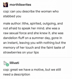 : morthilswrites  cop: can you describe the woman who  stabbed you  male author: lithe, spirited, outgoing, and  not afraid to speak her mind. she was a  raw sexual force and she knew it. she was  dandelion fluff on a summer day, gone in  an instant, leaving you with nothing but the  memory of her touch and the faint taste of  strawberries on your lips  lillivati  cop: great we have a motive, but we still  need a descriptiorn