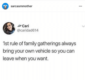 Family, Memes, and 🤖: MOS  sarcasmmother  Cari  @caridad614  1st rule of family gatherings always  bring your own vehicle so you can  leave when you want.