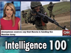 Putin is actually Vladimir: Moscow  CNN  Anonymous sources say that Russia is funding the  Russian Army  2:30 PM CET  Intelligence 100 Putin is actually Vladimir