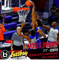 """Can't wait to see Moses Brown in the Ballislife All-American Game!  Stay locked on Ballislife for the rest of the roster release! #BILAAG https://t.co/1U9lwYY6VI: MOSES BROWN  7'1"""" - CENTER  2018 BALLISLIFE ALL AMERICAN GAME  MAY5-CERRITOS,CA Can't wait to see Moses Brown in the Ballislife All-American Game!  Stay locked on Ballislife for the rest of the roster release! #BILAAG https://t.co/1U9lwYY6VI"""