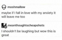 Fall, Love, and Wow: moshmallow  maybe if I fall in love with my anxiety it  will leave me too  meanthoughtscheapshots  I shouldn't be laughing but wow this is  great